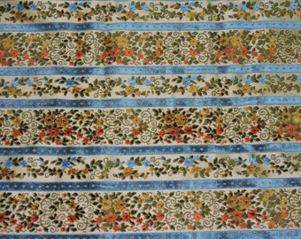 Vintage Upholstery Fabric Brown Blue Orange Green Floral Stripe Textured Yard Mid Century Mod