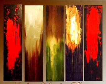 SALE HUGE  Abstract Original  Painting  multicolors,5 panels gallery canvas by Nicolette Vaughan Horner 60x48