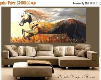 Sale ORIGINAL Custom  Made2order XXLarge   gallery wrap canvas-Contemporary Oil Abstract  Horse painting by Nicolette Vaughan Horner Made2or