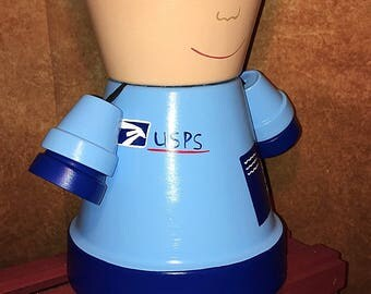 US Post Office, Flower Pot People, Mailman, Mail women, Clay Pot People Planter, Unique Gift for your Mailman