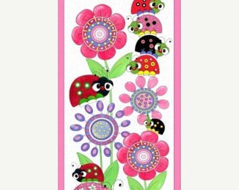 15% off thru 3/31 LAZY LITTLE LADYBUGS-Fabric Panel Quilting Treasures- cotton panel 23 by 44 inches- bugs, flowers, bright 24384-x