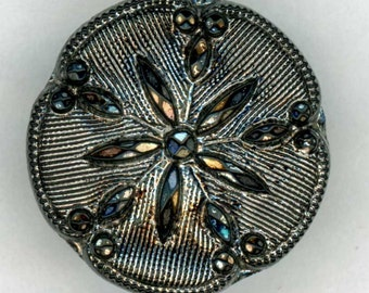 Black Glass Flower Button ~ just under 3/4 inch 18mm ~ Vintage Silver Luster Floral Sewing Button