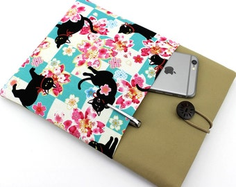 Kindle Paperwhite Cover, kimono Tablet Sleeve ereader Sleeve, Kindle Oasis case, Cat Cherry Blossoms Light Blue