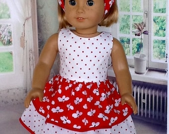 18 inch doll dress and headband. Fits American Girl Dolls. Red and white double ruffled dress.