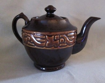 Vintage Brown Ceramic Small Teapot Made in Occupied Japan