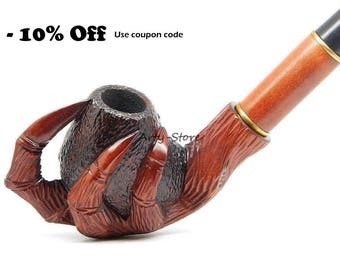 Tobacco Smoking pipe  - Eagle's Claw -  Hand Carved of Pear Wood + Pouch