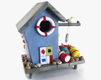 Fishing Birdhouse - Miniature beach birdhouse, lobster buoys, lobster trap, nautical flags, shells, gulls, gift for fisherman, fishing decor
