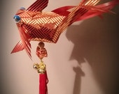 Origami Ribbon Weaving -  lifesize Goldfish Hanging Ornament