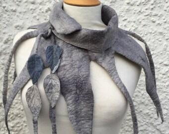 Grey Elven cowl-Pixie leaf cowl-Woodland cowl-  Cowl- scarf-Woodland Felted Cowl --Felt collar-leaf necklace-scarf-neck warmer