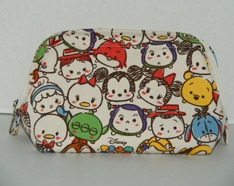 "Wire Frame Zipper Pouch With Pocket / Padded Cosmetic Bag Made with Japanese Cotton Canvas Fabric ""Tsum Tsum All Stars #2"" Size: M"