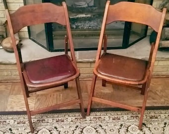 Set of 2 Vintage Acme Chair Co. Wooden Folding Chairs w/ Leather Cushions