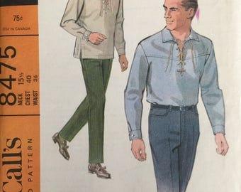 McCall's 8475, Size Neck 15 1/2, Chest 40, Waist 36, Men's Shirt and Slacks Pattern, UNCUT, Pull-On Shirt, Vintage 1966, Retro