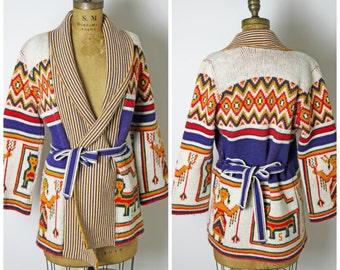 1970s Knit Southwestern Wrap Sweater
