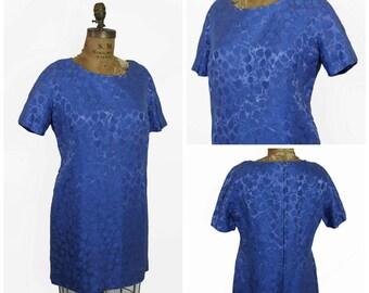 1960s Robert Leonard Blue Brocade Dress
