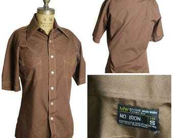 on sale Brown Button Up Shirt