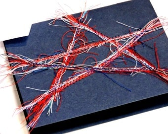 Thread Art Painting Card, Original Americana Star Paper-Stitched Blank Greeting Card, Graduation, Patriotic Holiday, Military itsyourcountry