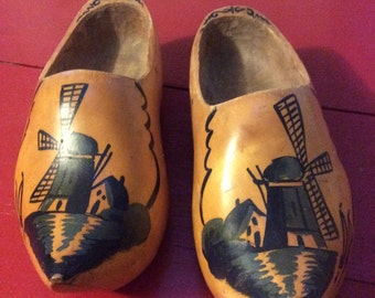 Vintage adult wooden shoes hand painted wooden clogs made in holland