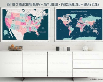 Set of 2 maps, World Traveler Series, Paper or Cotton Gift, First and Second Anniversary Gift, Gift for dad and mom, Gift for grads, Prints