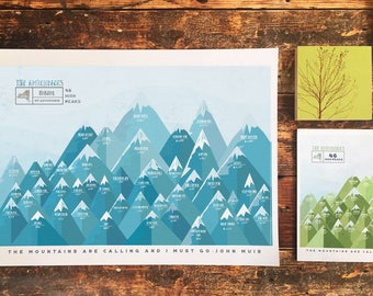 Adirondack 46 Peaks Mountains, High Peaks, New York Park Map, ADK, Gift for Dad, Paper Anniversary, Adirondack Decor