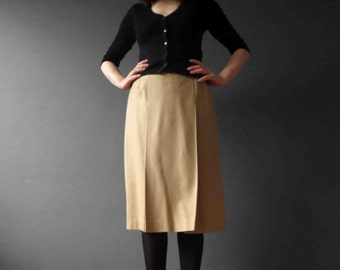 70s 80s Tan Wool Midi Skirt Inverted Front Pleat Small