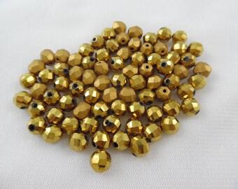 Bronze Glass Beads 4mm Hexagon Glass Beads