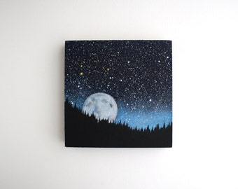 Moonrise Painting - 6 x 6