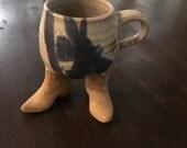 Stoneware Mug cowboy theme boots stand alone by bridges inc.