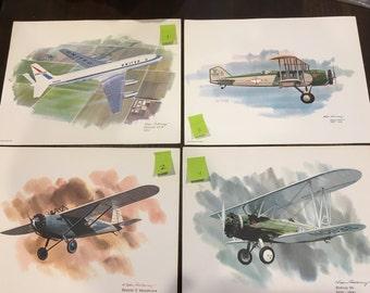Art Print united airlines collectors series by artist nixon galloway airplanes vintage