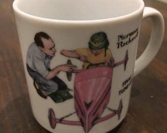 Glass norman rockwell  mug  coffee cup Herbal tea titled tune up