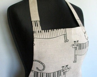 Linen Kitchen Utility Apron Valentines Day Gift Easter Apron Gardening Aprons Teachers Apron Natural Gray Black Cat