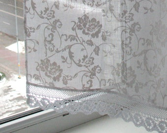 RESERVED for horseradish - Curtains Lace Cafe Curtains Washed Linen Curtains Kitchen Curtains Shabby Chic Curtains Panels with Flowers