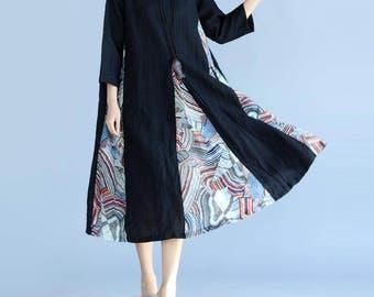 Leisure Cotton and linen Stitching round collar big swing dress