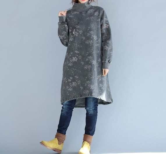 Cotton high collar loose fitting Long dress Women bottoming dress in gray/ coffee color/  blue