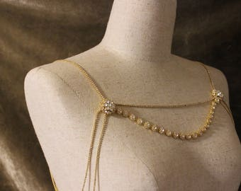 Gold shoulder necklace, gold Necklace, Wedding Shoulder Necklace. Rose gold Rhinestone Crystal. Necklace Fits Perfect On Your Neck