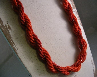 Vintage Red Seed Bead Multi Strand Necklace..... Lot 5173
