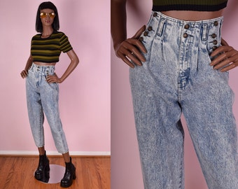 80s Acid Wash High Waisted Jeans/ 27 Waist/ 1980s