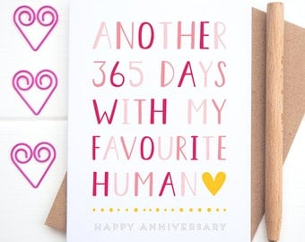 Favourite Human Anniversary Card - Valentines Card - Favourite Card - You're my favourite - Favourite Person - Funny Valentines