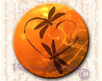 "Dragonfly in Amber button. 2.25"" round pin back button, magnet, pocket mirror, keyring/bottle opener. Dragonfly Love"