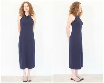 90s Navy Blue Polo Halter Dress / Size Small