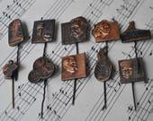 Set of 10. Vintage Latvian copper badges,pins.