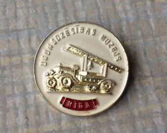 "Vintage Latvian badge,pin.""Firefighting Museum in Riga"""