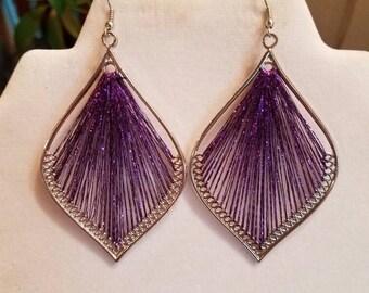 SALE New Beautiful Purple and Silver Metallic Leaf Orament Thread Earrings Boho, Native, Hippie, Southwestern, Gypsy, Ready to Ship