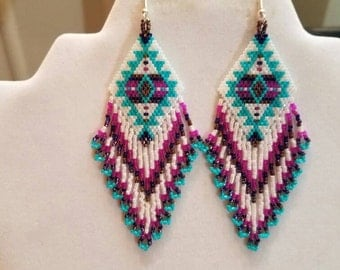 Native American Style Beaded Turquoise Blanket Earrings in Southwestern, Brick Stitch, Loom, Gypsy, Peyote Handmade Tribal Great Gift