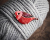 Pink-headed warbler brooch, nature inspired bird jewelry, red cute bird brooch, gift for her, enamelled copper pin, gift for good luck