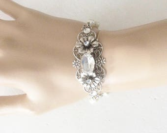 Flower bracelet silver filigree bracelet pearl bracelet bridal bracelet crystal bracelet wedding jewelry rhinestone wedding accessories