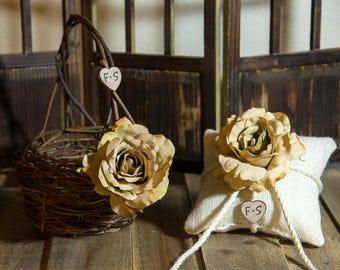 Champagne Rose Twig round personalized wedding small rustic flower girl basket and ring bearer pillow. Customize with flower and initials