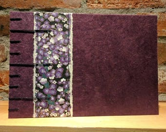 Blossoms in purple- coptic bound guest or sketchbook