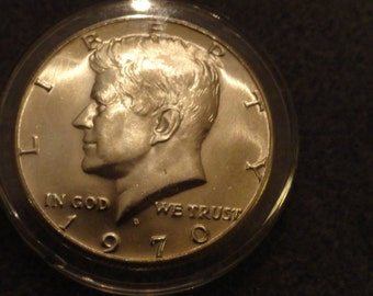 Uncirculated 1970-D Kennedy SILVER Half Dollar- Key Date- 40% Silver.