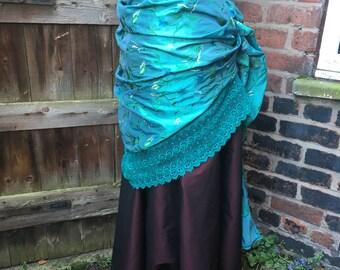 "Embroidered turquoise taffeta bustle skirt (35"" waist)"