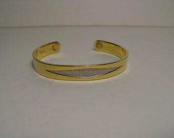 2 Tone Gold and Silver Cuff Bracelet